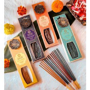 25 g. Luxurious Ayurveda Incense Sticks with Metal Hanging Burner (Set of 12)