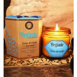 200 g. Organic Goodness Soy Candle in Amber Colored Glass Decanter