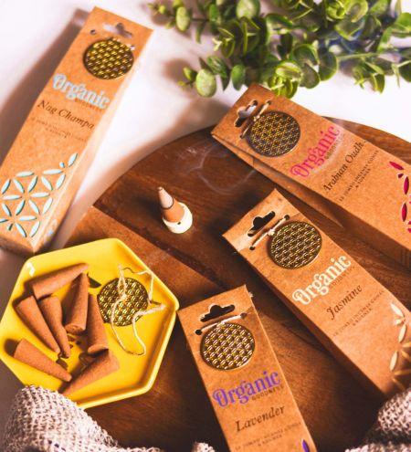 Organic Goodness 12 Incense Cones with Ceramic Holder (Set of 12)