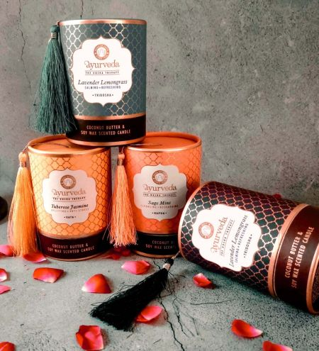 200 g. Luxurious Ayurveda Scented Candle in Brown Colored Glass Jar in Tube Packaging with Tassel
