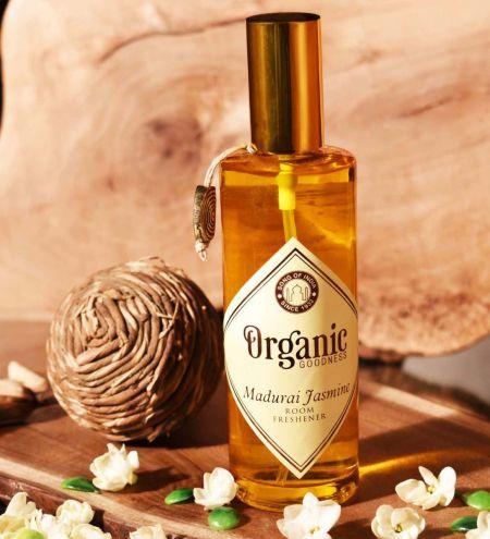 100 ml. Organic Goodness Room Freshener in Amber Colored Round Glass Spray Bottle