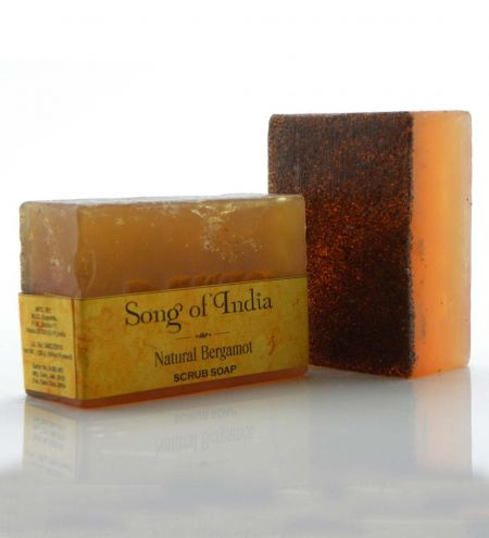 125 g. Walnut Scrub Glycerin Soap with Natural Herbs in Clear Shrink