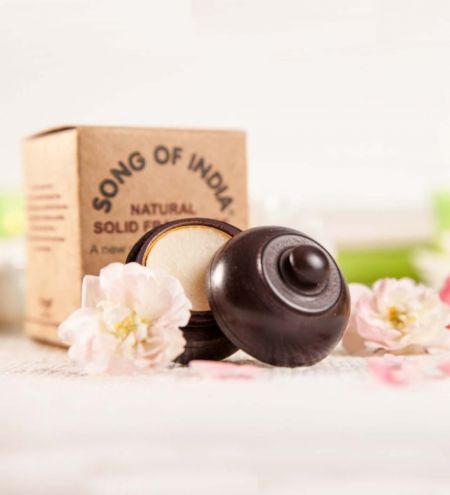 6 g. Solid Perfume in Smooth Rosewood Jars in Khaki Box